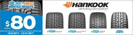 Get up to a $100 mail-in rebate when you buy a set of four eligible Hankook tires by December 31st